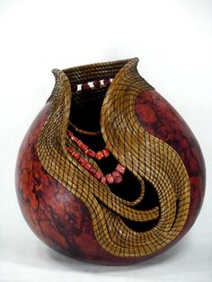 """*Gourd Art - """"Coral Red"""" by Judy Richie"""