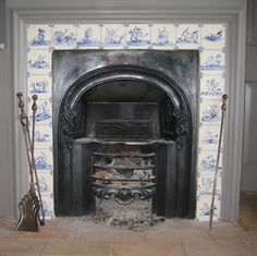 A gallery of delft tile projects and customer feedback Fireplace Tile, Home Room Design, Beautiful Tile, Delft, Custom Fireplace, Fireplace Mantels, Cottage Fireplace, Delft Tiles, Fireplace