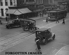 Trolley car and automobile traffic, c. 1920. I chose this picture because it shows how the traffic looked in the 1920s.
