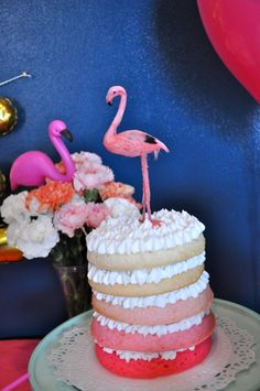 Ombre First Birthday Cake - love this flamingo party!
