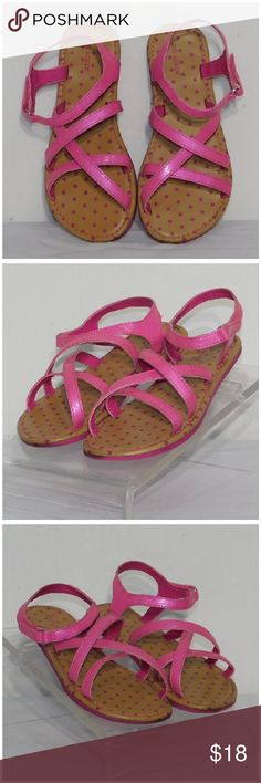 """GIRLs Pink Strappy Sandals, size 13, Little GIRLs Pink Strappy Sandals, size 13, silvertone buckle with velcro closure, soft flexible, washable, man-made materials. Rulers for reference only (blue is 6"""", green is 12""""). Pictures are accurate depiction of condition, please zoom in for close up view of any distress, scratches, scuffs. SAVE BIG! ADD TO A BUNDLE! 30%  AUTOMATICALLY DISCOUNTED ON ALL BUNDLES! Shoes Sandals & Flip Flops"""