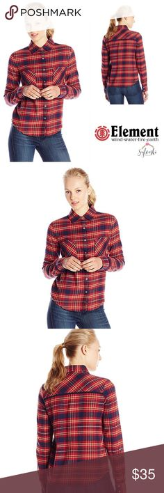 Element Juniors' Slacker Yarn-Dyed Plaid ElementJuniors' Slacker Yarn-Dyed Plaid Flannel Shirt We know how much you love your OG plaid flannelshirts. But the Slacker amps your outfit with a street chic attitude for a lookthat redefines cool and easy. Styled with a button front and two chest pockets.100% Cotton Imported Machine Wash Button-front shirt in plaid flannel featuring two chest pockets and trimmed back yoke Button-cuff long sleeves Element Tops Button Down Shirts