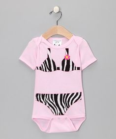 Take a look at this Pink Zebra Safari Sass Bikini Bodysuit  by The Happy Cow Company on #zulily today!