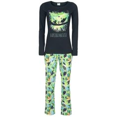 - Pyjama-Set - Oberteil mit langen Ärmeln - Front bedruckt - lange Hose - allover bedruckt - mit Gummibund, Tunnelzug und zwei Einschubtaschen