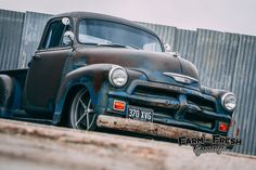 1954 Chevy pick up truck Built by Farm Fresh Garage UK. Chevy 3100, Chevy Chevrolet, Chevy Pickups, 1954 Chevy Truck, Chevy Trucks, Pickup Trucks, Rat Rod Build, Old School Cars, Old Trucks