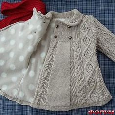 japanese knitting girl coat jacket cables - Turkish site but no pattern. link no longer works :( Baby Knitting Patterns, Knitting For Kids, Crochet For Kids, Baby Patterns, Knit Crochet, Crochet Blouse, Clothes Patterns, Free Crochet, Knitted Baby Clothes