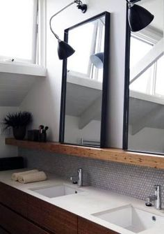 shortlisted entry in the 2011 Australian Interior Design Awards. The Carriageworks by Hare + Klein Interior Design. Bathroom Mirror Design, Bathroom Renos, Bathroom Interior, Modern Bathroom, Small Bathroom, Master Bathroom, Bathroom Mirrors, Framed Mirrors, Vanity Mirrors