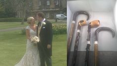 """Unusual, but interesting.  Both the bride and groom enjoy walking, so I made them a matched pair of walking sticks.  With their initials and wedding date engraved on the sterling silver collar, polished buffalo horn handles, and the names of everyone who presented the etched on the top, they are a unique, bespoke, personal present.  I also made the two blackthorns in the middle, which were for the best man and chief usher.  Which makes this project """"4 walking sticks and a wedding"""""""