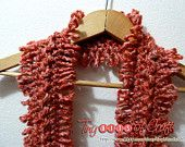 www.tinybitsofcraft.etsy.com; Valentines SALE: Variegated, Multicolored Red scarf, hues of pink, coral, & orange. Crochet hairpin lace style on Acrylic yarn. Women or teen