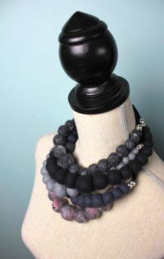 Felted Beaded Necklaces by Tara M Designs, black, grey, pink Tara M, Beaded Necklaces, Fiber Art, My Design, Grey, Pink, Accessories, Black, Jewelry