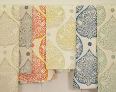 Henhurst Interiors: Spring Fabric Collection from Galbraith & Paul, the blue colourway) Textile Fabrics, Textile Patterns, Textile Prints, Textile Design, Fabric Design, Leaf Prints, Lotus Wallpaper, Fabric Wallpaper, Pattern Wallpaper