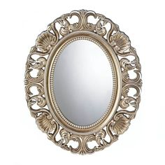 Gilded Oval Wall Mirror:  This gorgeous oval wall mirror is the perfect blend of classic beauty and timeless style, with its gilded golden finish that shows off all the pretty details of the ornate frame. A luxe addition to your entryway, bedroom or bathroom!