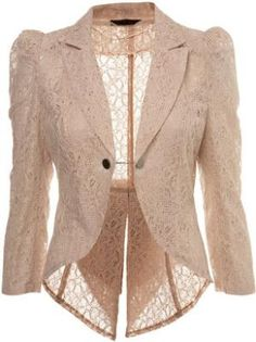 Nude lace tails jacket at ShopStyle