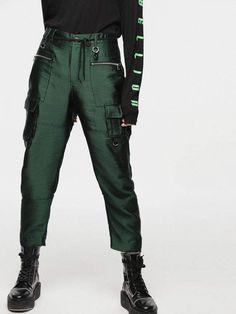 893fe4a7e4 Diesel Pants 0DATQ - Green - 29 Cintos, Calças De Pára Quedas, Moda,