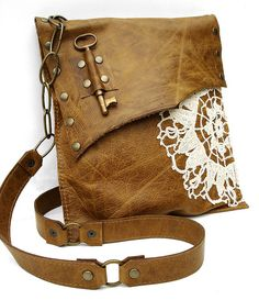 Love it!!!! Boho Leather Messenger w/Doily & Antique Key | Flickr - Photo Sharing!