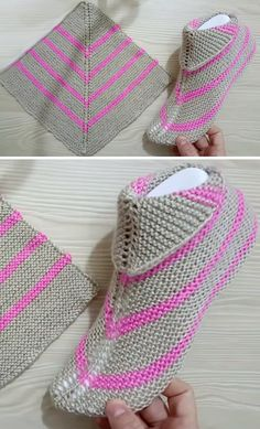 Amazing Knitting provides a directory of free knitting patterns, tips, and tricks for knitters. Knit Slippers Free Pattern, Crochet Slipper Pattern, Crochet Shoes, Knitted Booties, Knitted Slippers, Pink Slippers, Easy Knitting, Knitting Socks, Knitting Wool