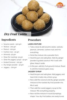 Dry Fruit Laddu is a winter special recipe. These laddus are a mini powerhouse of nutrients. Other Recipes, Sweet Recipes, Dog Food Recipes, Snack Recipes, Cooking Recipes, Cooking Ideas, Food Ideas, Indian Dessert Recipes, Indian Sweets