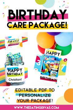 Birthday Care Package ideas & printables Birthday Box, Birthday Treats, Happy Birthday, Christmas Wishes Quotes, Birthday Care Packages, Birthday Traditions, Get Well Gifts, Birthday Backdrop, Dating Divas