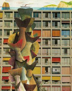 Eduard Bezembinder  Fish totem in front of apartment building