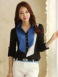 camisa de manga larga del color del contraste de las mujeres