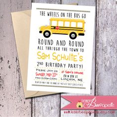 Wheels On The Bus - School Bus - Birthday Party - Invitation - 5x7