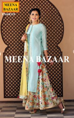 Blue Chanderi Sharara Suit @ MeenaBazaar