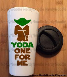 Yoda One For Me Star Wars Coffee Travel Mug  You by NerdyNoodle
