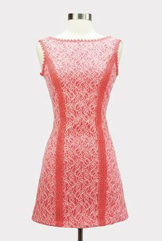 Coral reef lace overlay dress modern vintage style clothing fashion