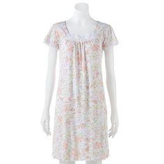 Miss Elaine Essentials Pajamas: Sofiknit Floral Nightgown - Women's Plus