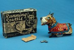 MARX: Tin Litho Wind-up, Wee Running Scottie Dog. Toy with box & key