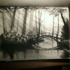 Wonderous #charcoal #landscape #sketchbook #sketch by @charcoal_n_stuff of a…