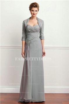 7f31851499 Sheath Column Sweetheart Floor-length Chiffon Mother of the Bride Dress  Half Sleeve Dresses