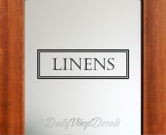 Linens Vinyl Decal *Choose Size & Color* Linens Door Decal - Vintage Style Linens Wall Decal Vinyl Lettering Window Door Decal Pantry Decal