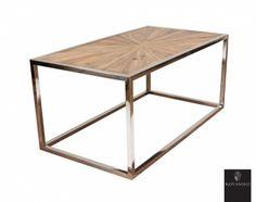 Tøft Avignon sofabord produsert i kombinasjon av et moderne understell i pusset rustfri stål og en røff og rustikk bordplate av resirkulert furu med tøft mønster!