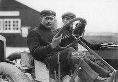 Demogeot, the Darracq driver, at Brooklands race track.