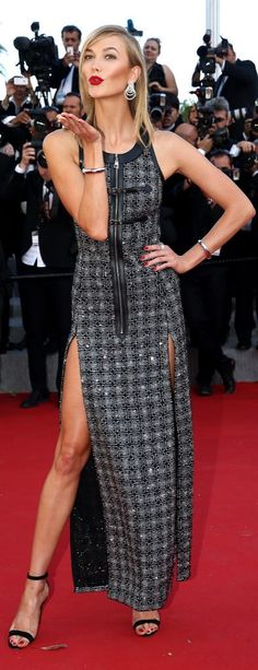 Karlie Kloss made an edgy statement in a zipper-adorned Louis Vuitton dress that boasted not one but two leg slits.