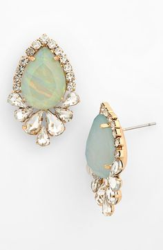 Sparkly mint earrings for homecoming.