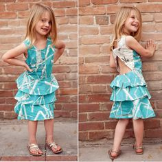 Scirocco Collage Summer Ruffle Sun Dress Sewing Kit by AllegroFabrics Sizes 18 months-9 years