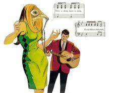Original Paper Collage Art Song Bird Singer Songbird by dadadreams, $35.00