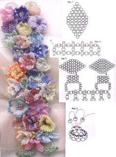 Schema for floral bracelet (and 2 other fluffy bracelets).  Needs translation. #Seed #Bead #Tutorial