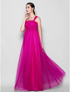 Floor-length Tulle Bridesmaid Dress Sheath / Column One Shoulder Plus Size / Petite with Side Draping 2016 - $111.19