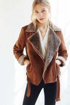Silence + Noise Faux Shearling Aviator Jacket - Urban Outfitters