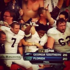 Celebrating the Georgia Southern University win over The University of Florida at The Swamp. Hail Southern!