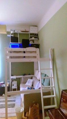 Diy Bunk Beds with Storage Inspirational Stor… Loft Bed to Loft Office Ikea Hackers Ikea Loft, Ikea Bunk Bed, Bunk Beds With Storage, Bed Storage, Lofted Beds, Cool Loft Beds, Murphy-bett Ikea, Bedding Master Bedroom, Raised Beds