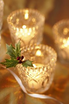 Cut glass votives. Repinned by www.mygrowingtraditions.com