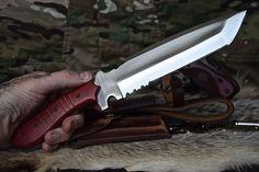 CFK USA Ipak Survival Custom Handmade D2 Tanto Serrated Battle Raptor Knife V 5 | eBay
