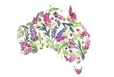 ORIGINAL WATERCOLOR AUSTRALIA MAP PAINTING. This is a beautiful and original painting featuring watercolor florals inside map of Australia that you can send to your best friend or someone special. It will also make a perfect present for that friend/relative/acquaintance living