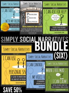**SAVE 50% by purchasing the Simply Social Narratives Bundle!  INK-SAVING high quality social stories to engage your students.  Grades K-12.