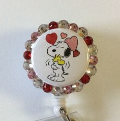 Peanuts Snoopy and Woodstock Valentine's Decorative Badge/ID Holder with Charm/Beads by Lindasbadgeboutique on Etsy