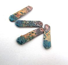 Torch Fired Enamel Copper Matchsticks -   Yellow, Turquoise with Dark Blue & Green Green Speckles Set of 4 - Kimberly Rogers